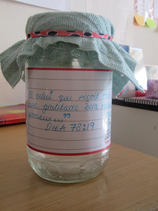 gratitude jar that we made for a fhe with the nestors